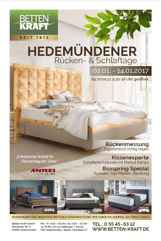02.01.-14.01.17.: Hedemündener Rücken- und Schlaftage im Januar 2017