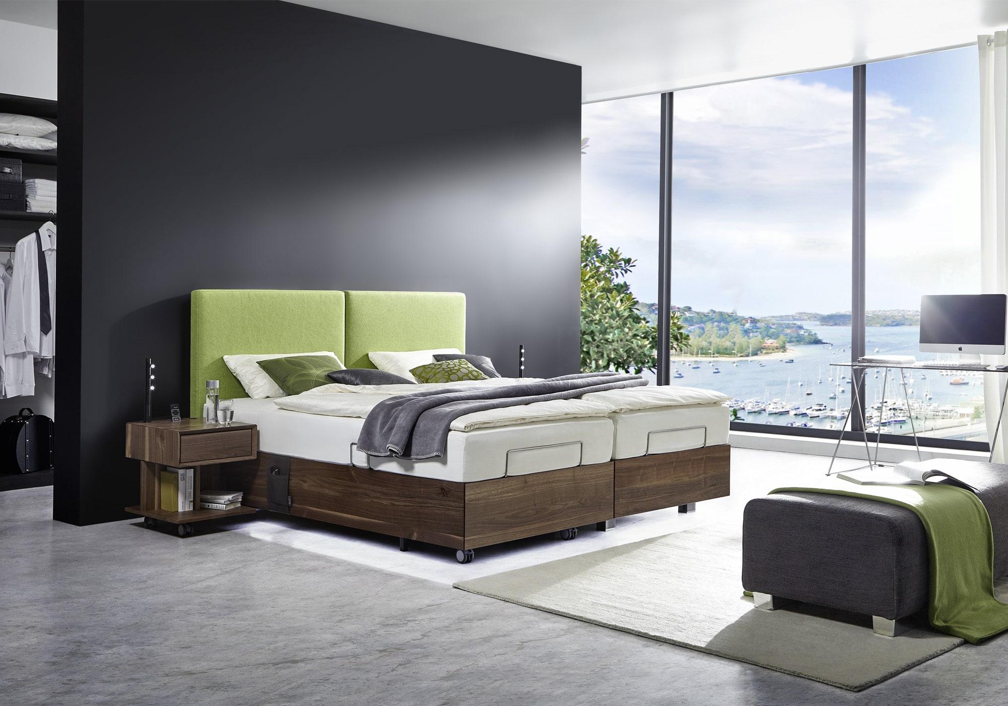 kirchner massivholzbett davos nussbaum mit polsterkopfteil loden betten kraft. Black Bedroom Furniture Sets. Home Design Ideas