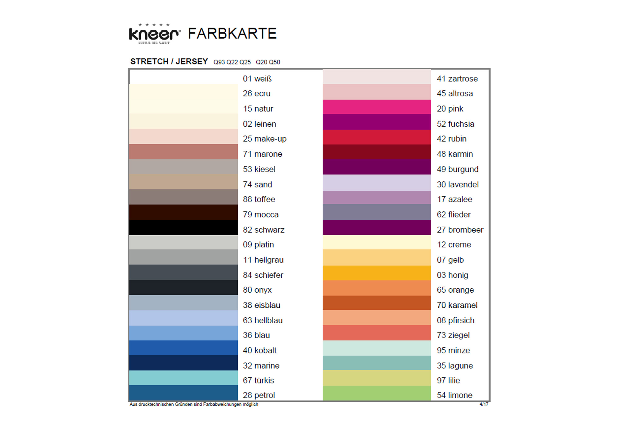 Kneer Farbkarte Q93