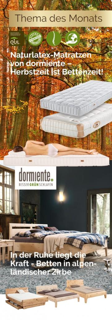 Naturlatex-Matratzen von dormiente, Betten in alpenländischer Zirbe - Herbstzeit ist Bettenzeit