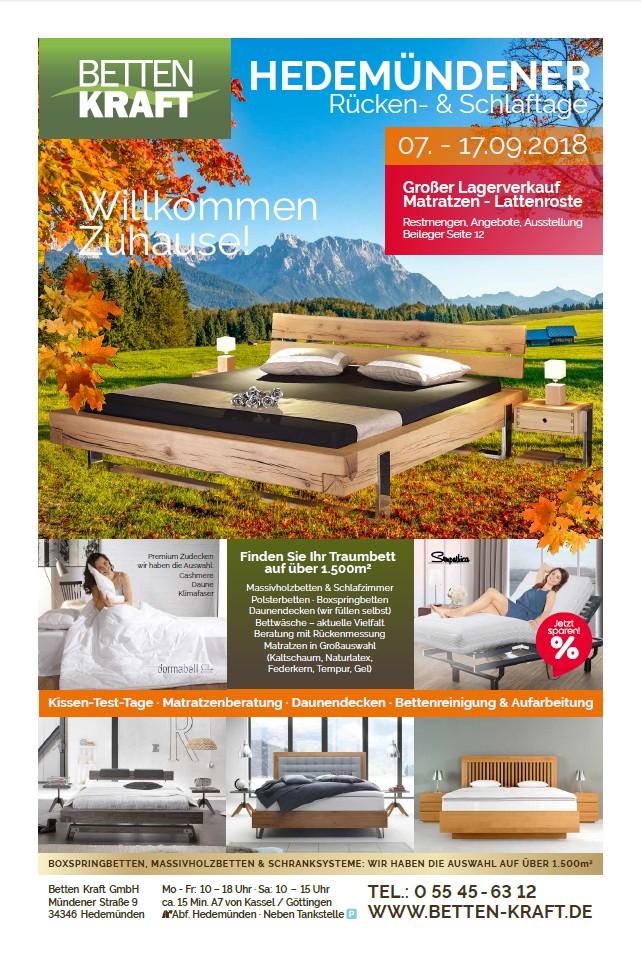 Betten Kraft Hedemündener Rücken- und Schlaftage Herbst 2018 Titel