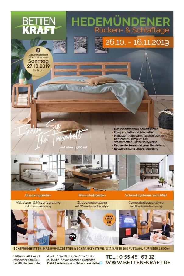 Betten Kraft Hedemündener Rücken- und Schlaftage Oktober 2019 Titel