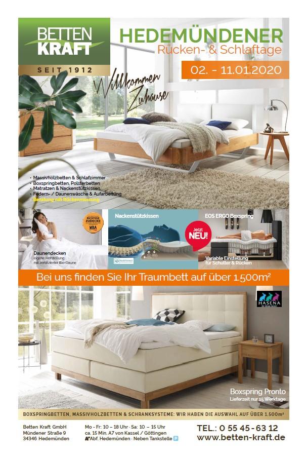 Betten Kraft Hedemündener Rücken- und Schlaftage Januar 2020