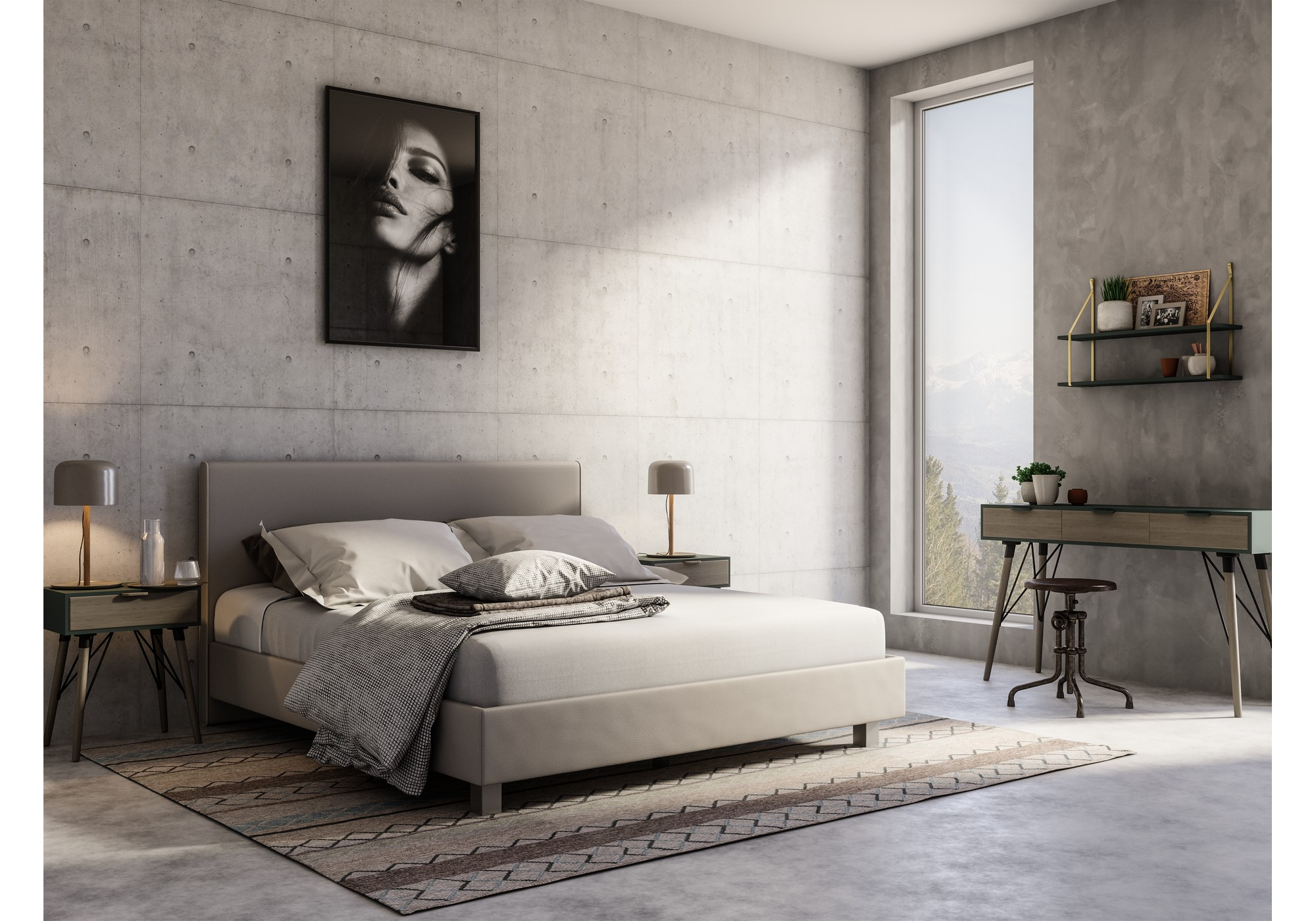 Swissbed silhouette bündig_Leatherlook_Ivory